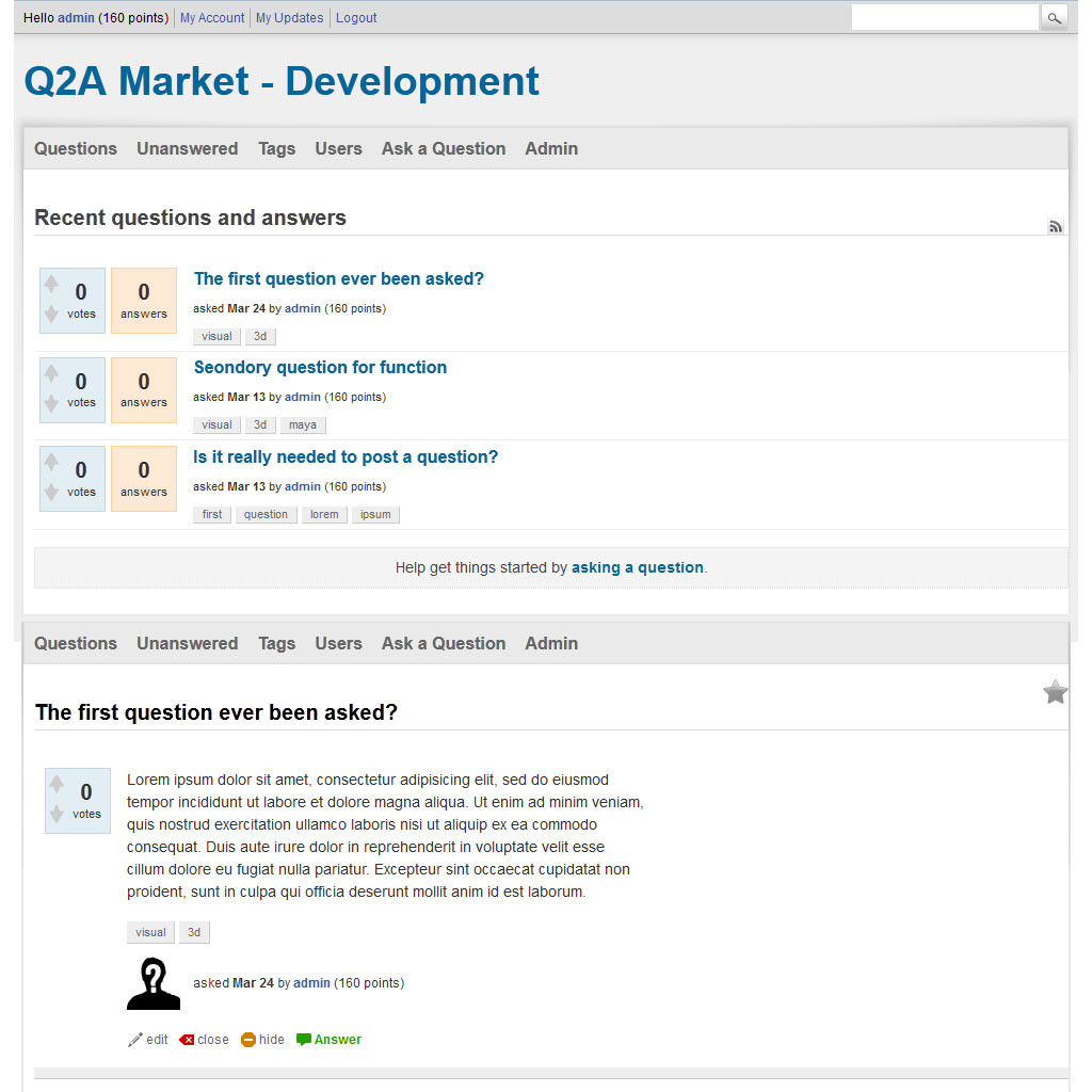 Aqua theme for question2answer by q2a market
